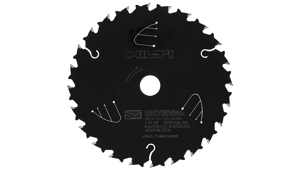Up to 60% work per charge with SCB WU circular saw blades for wood